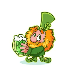 Shy leprechaun in green costume with mug green vector