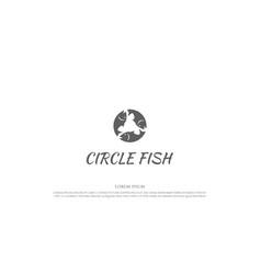 simple minimalist circle circular fish for vector image