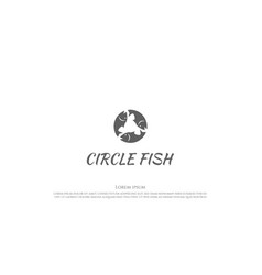 simple minimalist circle circular fish vector image