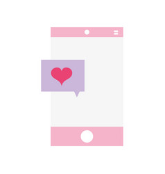 Smartphone technology with heart chat bubble vector
