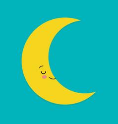 smiling cute moon cartoon mascot character vector image