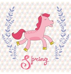 Spring concept card with cute running horse vector
