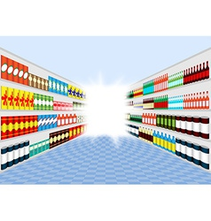 Supermarket shelves corridor vector