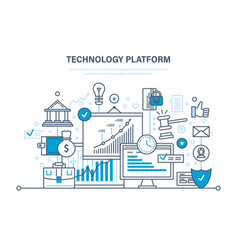 Technology platform cloud storage network vector