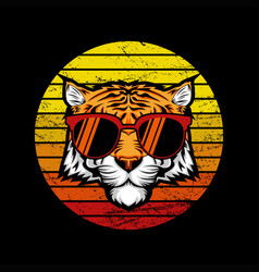 tiger retro sunset vector image