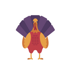Turkey bird front view icon thanksgiving vector