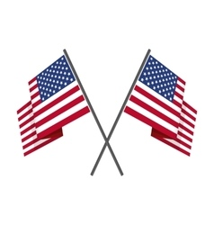 Two crossed american flag vector