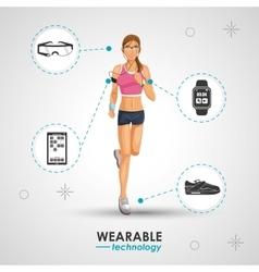 Woman sport jogging wearable technology vector