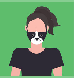 Woman wearing protective mask with dog face smog vector