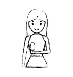 woman with long hair an ice cream vec vector image
