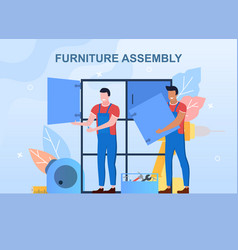 Wood furniture assembly vector
