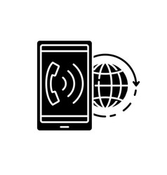 world communication black icon concept vector image