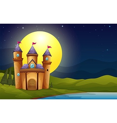 A castle in a full moon scenery vector image vector image