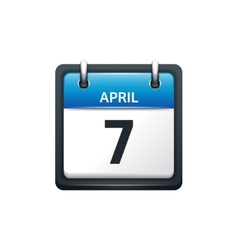 April 7 Calendar icon flat vector image vector image