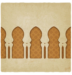 arch on background with arabic pattern vector image vector image
