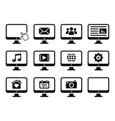 Computer screen black icons set vector image