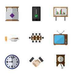 Flat icon life set of watch clock mattress and vector