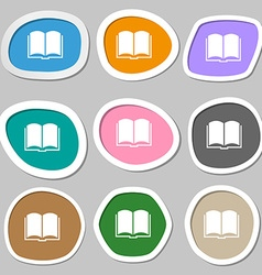 Book symbols Multicolored paper stickers vector image