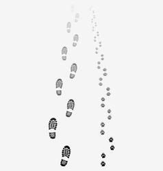 footprints of man and dog vector image