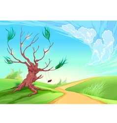Romantic landscape with tree vector image vector image