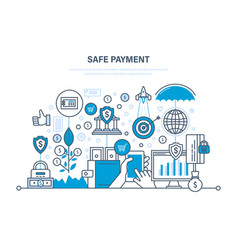 safe payment methods payment protection of data vector image
