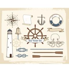 Vintage nautical decoration set vector image vector image