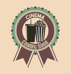 cinema coming soon badge ribbon retro vintage vector image