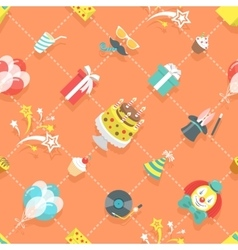 Flat Birthday Party Celebration Icons Seamless vector image vector image