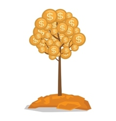 Money tree with golden coins vector image vector image