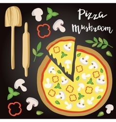 Mushroom Pizza with vector image vector image