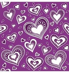 Pattern purple heart vector image