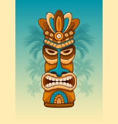 wooden tiki mask vector image