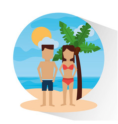 couple in the beach palm sea sun landscape vector image vector image