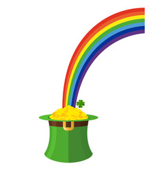 leprechaun hat and rainbow st patricks day in vector image