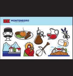 montenegro travel destination promotional poster vector image vector image