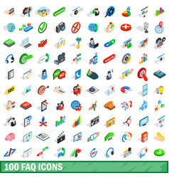 100 faq icons set isometric 3d style vector image