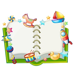 A book with many toys vector