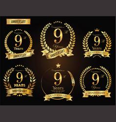 Anniversary golden laurel wreath 9 years vector