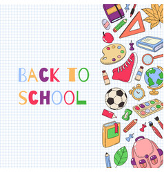 back to school template set of school accessories vector image