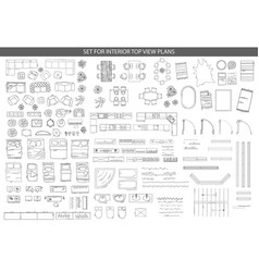 Big set of icons for interior top view plans vector