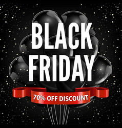 black friday sale discount promo balloons red vector image