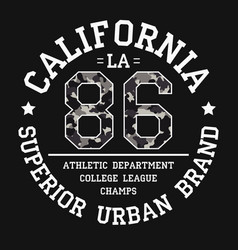 California tee shirt print with slogan and vector