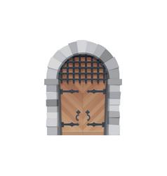cartoon door icon medieval wooden gates vector image