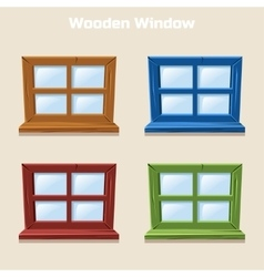 Cartoon Wooden Colorful Window vector