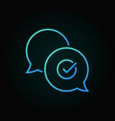 check mark in speech-bubble blue line icon vector image