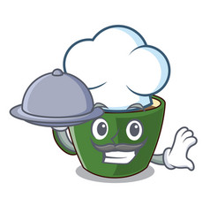 chef with food indian masala tea in cartoon cup vector image