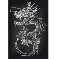 Chinese dragon on chalkboard backdrop vector image