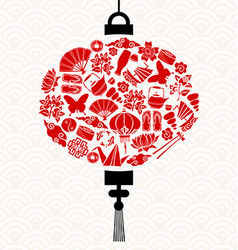 Chinese new year lantern with red asian icons vector