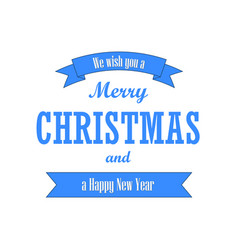 christmas text blue ribbon merry christmas and vector image