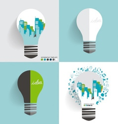 City in light bulb vector
